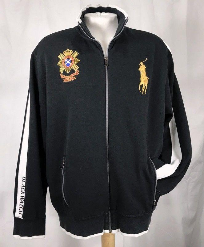 7e46a28c8b9cf VTG Polo Ralph Lauren Mens Track Jacket Blackwatch Big Pony Full Zip ...