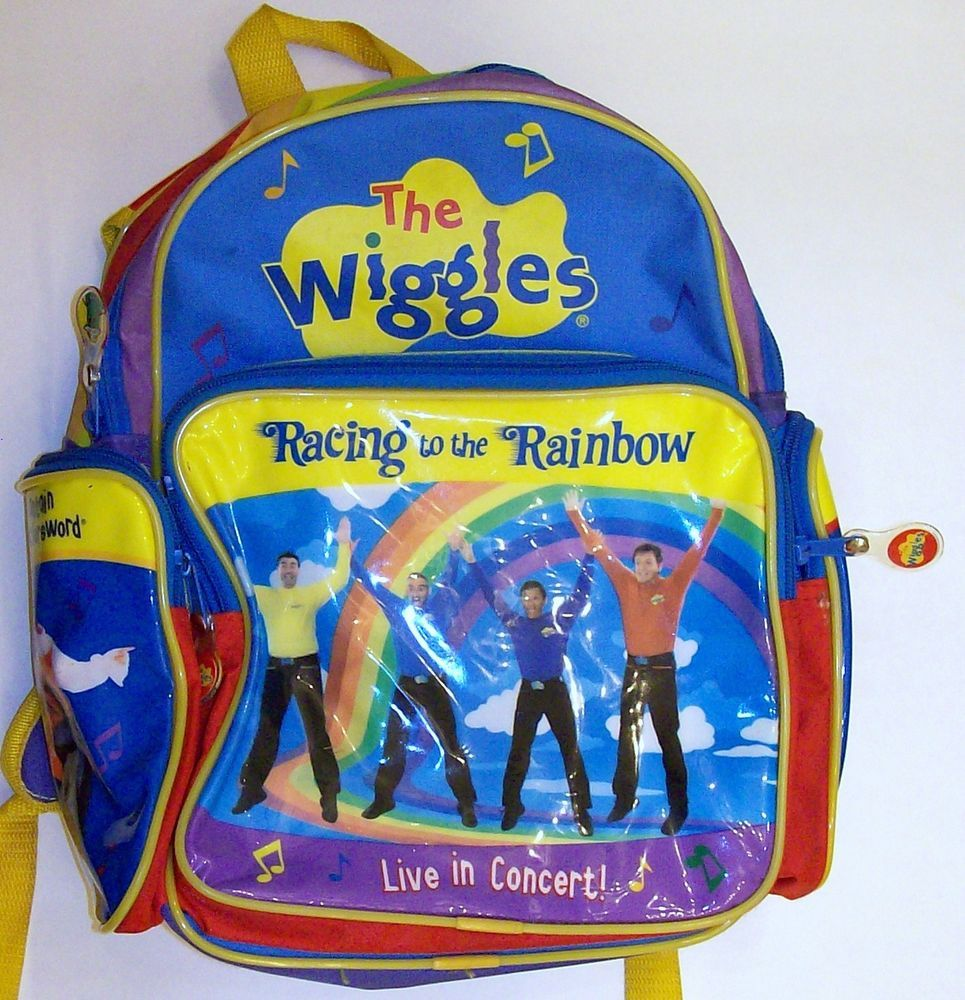 84557f18980b The Wiggles VINTAGE Racing To The Rainbow Backpack Greg Jeff Murray Anthony  RARE  TheWIggles