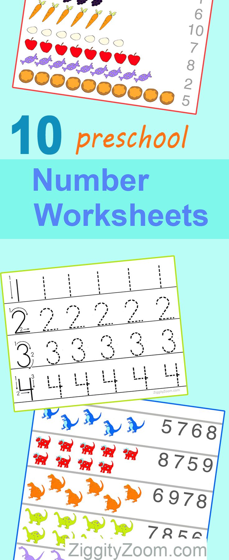 10 Preschool Math Worksheets- Number Recognition, Flashcards ...
