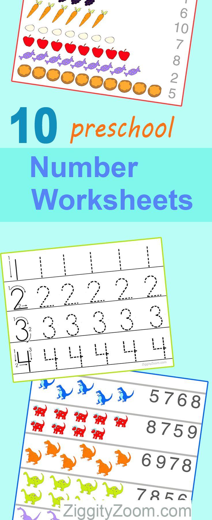 10 Preschool Math Worksheets Number Recognition Flashcards Tracing Preschool Math Worksheets Math Activities Preschool Preschool Math [ 1800 x 736 Pixel ]