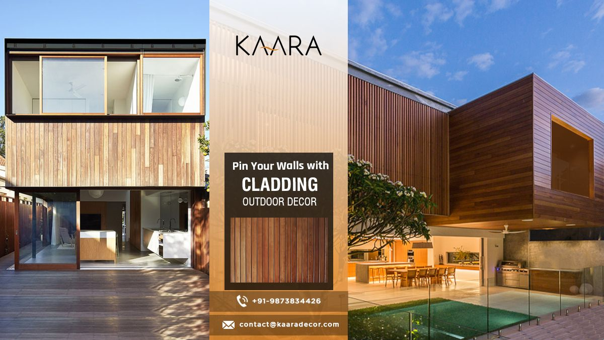 Don't let environmental conditions destroy your home. Pin it with Outdoor Cladding from KAARA. To buy call us at +91 - 9873834426 OR mail us your details at contact@Kaaradecor.com #cladding #outdoordecor #outdoorhomedecor #premiumquality #claddingoutdoordecor #outdoordesign #architect #construction #interiordesign #building #interior #exterior #carpentry #HomeDecoration #outdoorstyle #CladdingDesign #kaara #Kaaradecor
