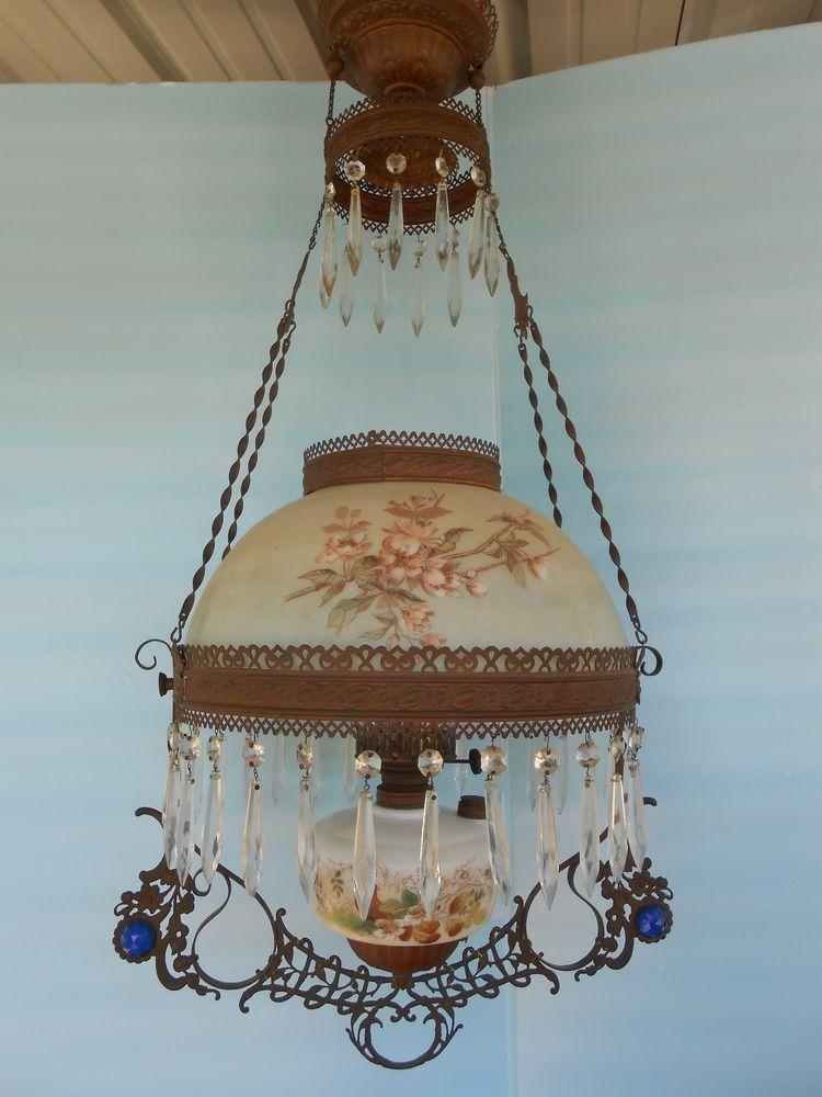 Victorian Hanging Jeweled Hurricane Parlor Oil Kerosene Lamp Prisms Fixture