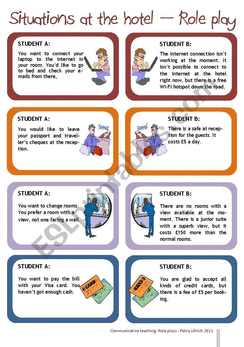 This Is A Set Of Four Classic Situations Which Provoke Complaints At A Hotel One Partner Is Th Speaking Activities English Roleplay English Language Teaching