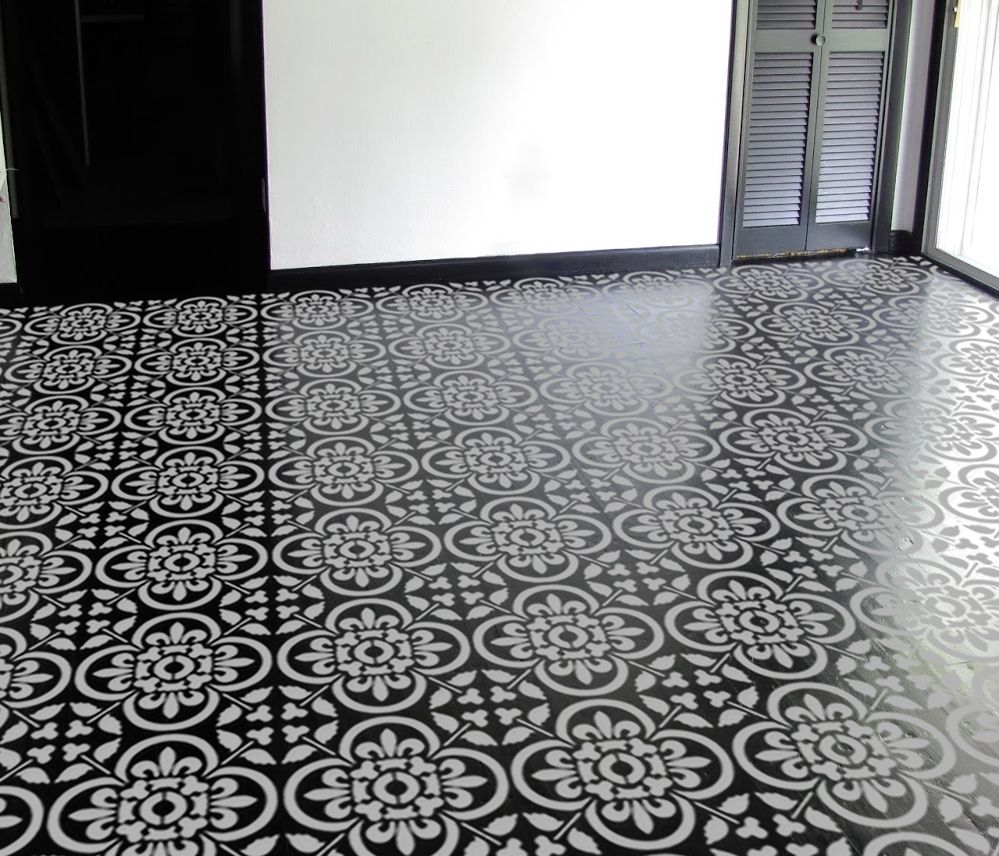 This is a stencil in classical moroccan tile pattern use Moroccan ceramic floor tile