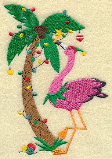 новый год пальма фламинго Christmas Flamingo Design 3 of