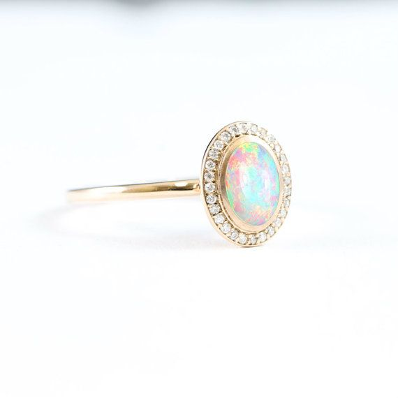 Opal And Diamond Halo Engagement Ring Handmade In 14 Carat Rose