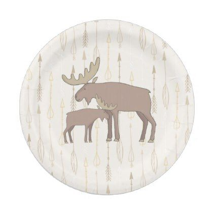 Moose and baby boho Paper Plates - diy cyo customize create your own personalize  sc 1 st  Pinterest & Moose and baby boho Paper Plates - diy cyo customize create your own ...