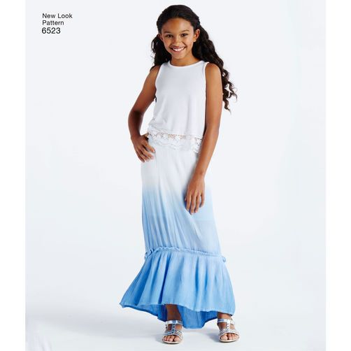 fc288e3e09 New Look Pattern 6523 Girls' Skirts with Length and Fabric Variations