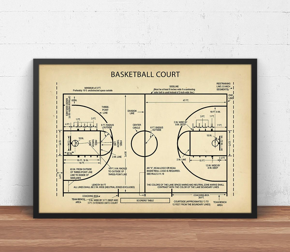 Basketball Court Blueprint Art, Digital Download