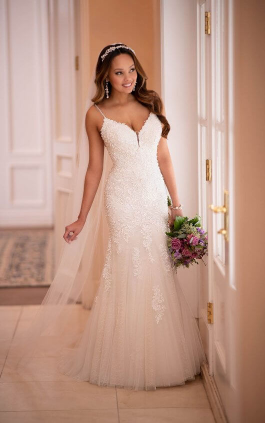 V Neck Boho Fit And Flare Wedding Dress Stella York Wedding Dresses Fit And Flare Wedding Dress Stella York Wedding Dress Fitted Wedding Dress