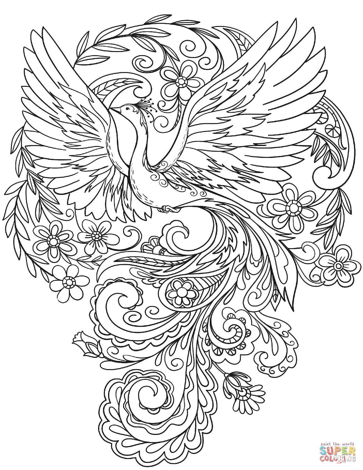 Peacock In Flowers Super Coloring Bujo Coloring Pages Peacock