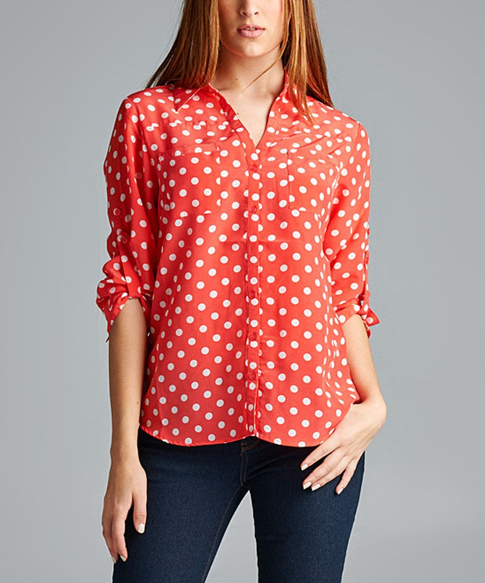 5f9810008017 Look what I found on  zulily! Antilia Femme Coral   White Polka Dot Button-Up  Shirt - Women by Antilia Femme  zulilyfinds