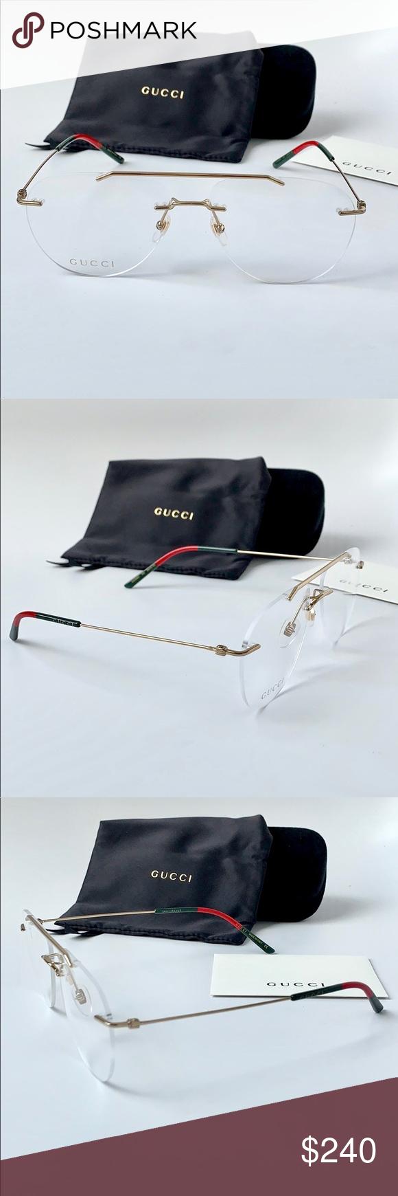 02ff75306d18 Gucci Eyeglasses GG0398O 002 Gold Rimless Optical Gucci Men's Eyeglasses  GG0398O GG/0398/O