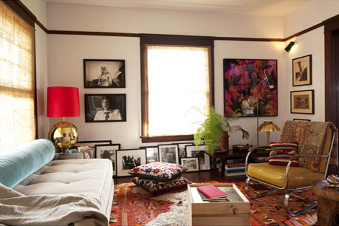 a twin bed as sofa bohemian living rooms