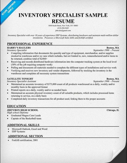 Inventory Control Specialist Resume -   topresumeinfo - Telecommunication Resume Sample