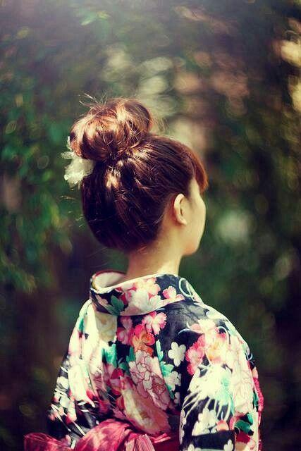 Young Geisha Pumpkin Face Mask Big Bun Hair Bridal Hair Updo