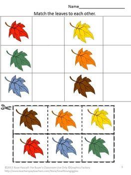 Fall Leaves Math Literacy Kindergarten Math Special ...
