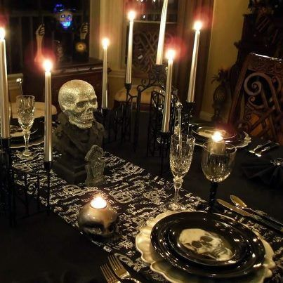dark gothic party tablescape setting | Gothic at Home, Furniture and ...