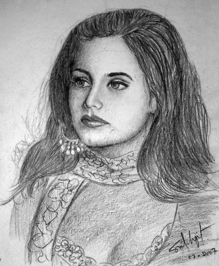 nnocent Looking Rani Mukerji pencil sketch.