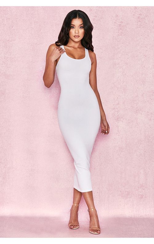 Clothing   Bodycon Dresses    Tomlin  White Midi Length Vest Dress ... 539b532d4