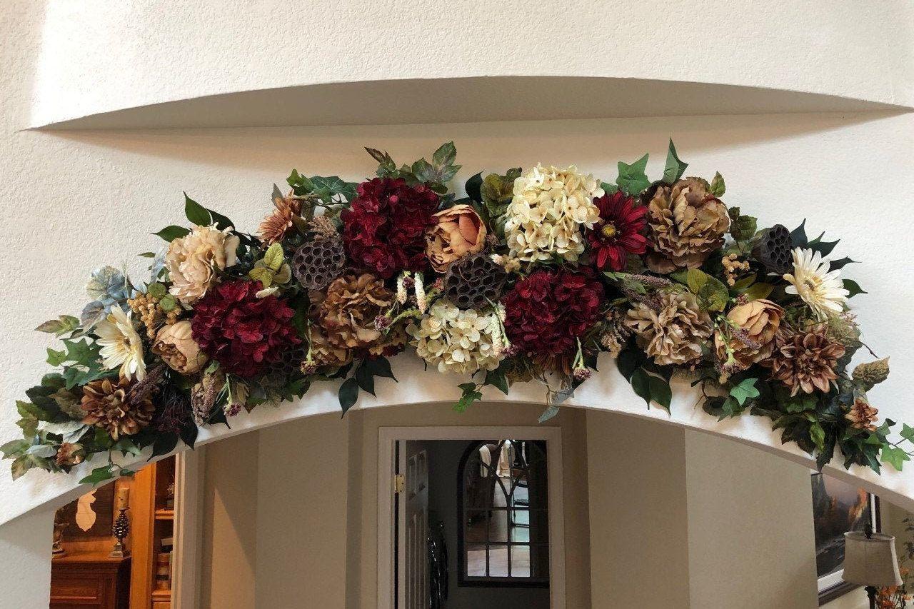 Rustic Garland Rustic Wedding Swag Wedding Swag Silk Floral Etsy Fall Floral Decor Silk Floral Decor Rustic Floral Decor