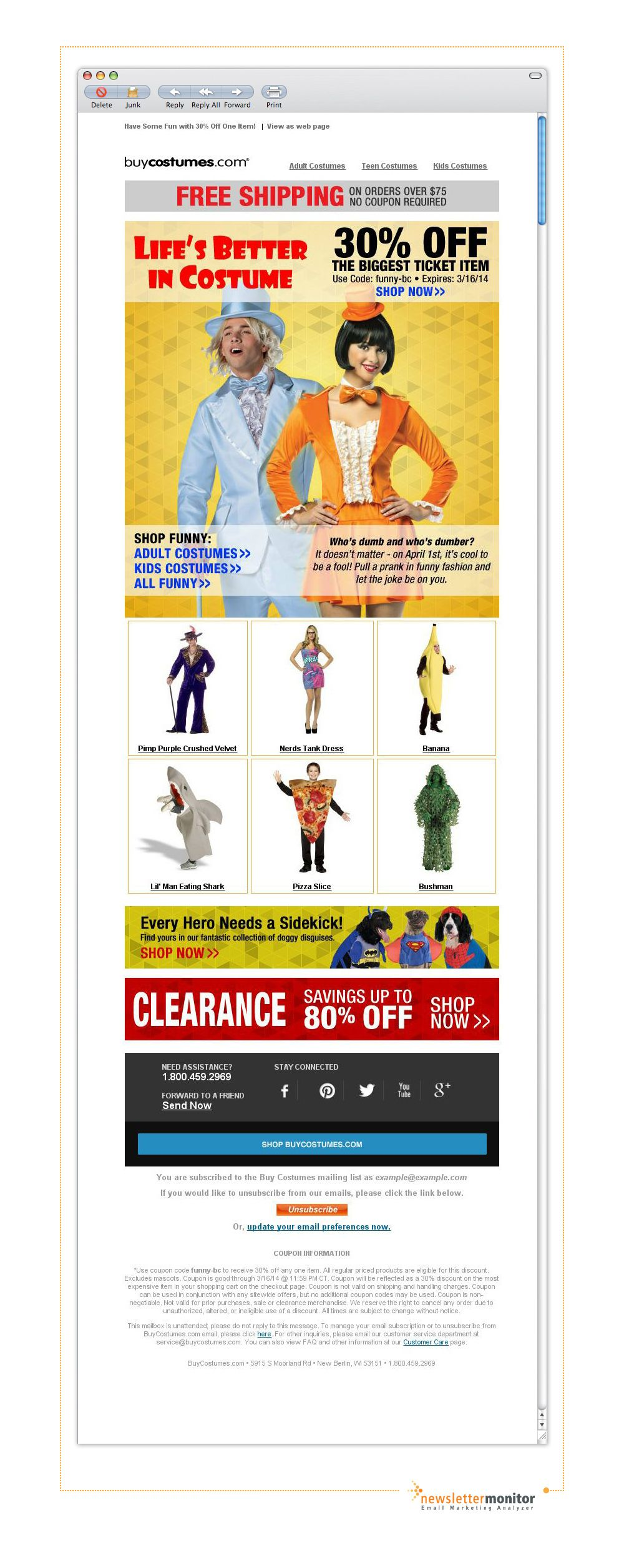 Brand: BuyCostumes   Subject: It's Not a Prank: Save 30%!
