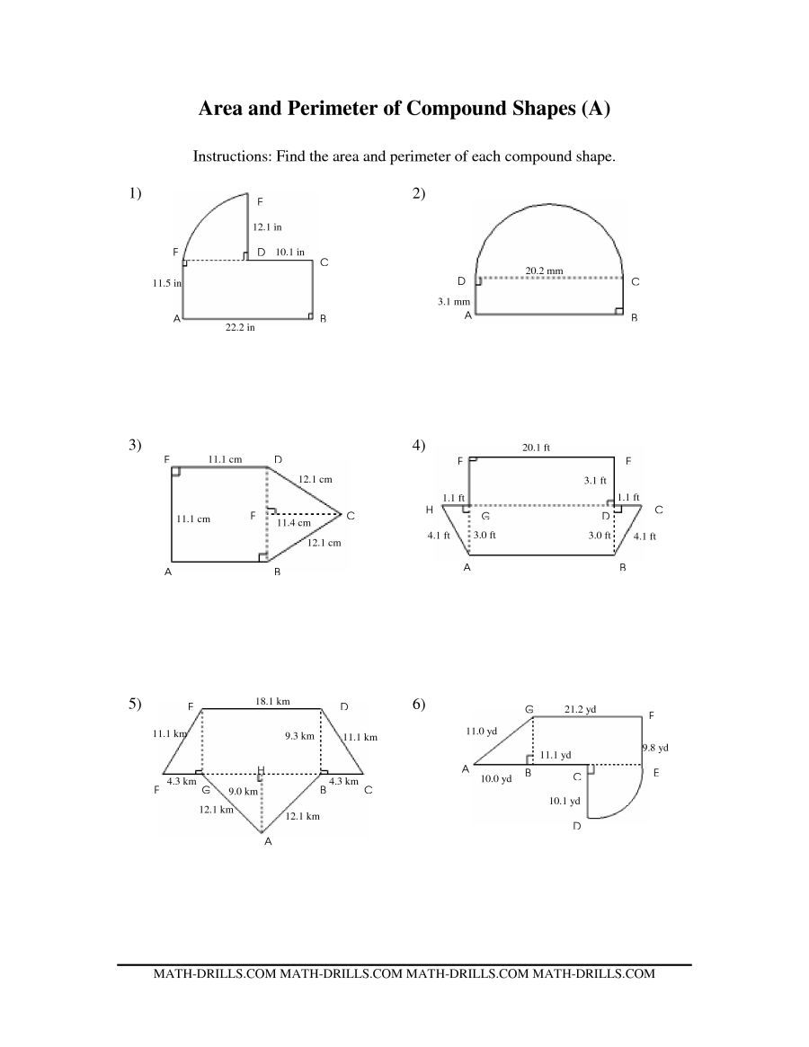 The Area and Perimeter of Compound Shapes (A) math worksheet from ...