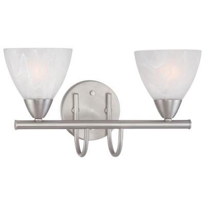 Thomas Lighting Tia 2-Light Matte Nickel Bath Fixture-190016117 - The Home Depot (kids and guest bathroom)