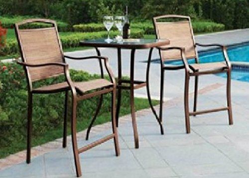 Amazon.com: 3 PC HIGH TOP BISTRO TABLE CHAIRS SET ~ SLINGBACK MATERIAL  COMFORTABLE: Patio, Lawn U0026 Garden