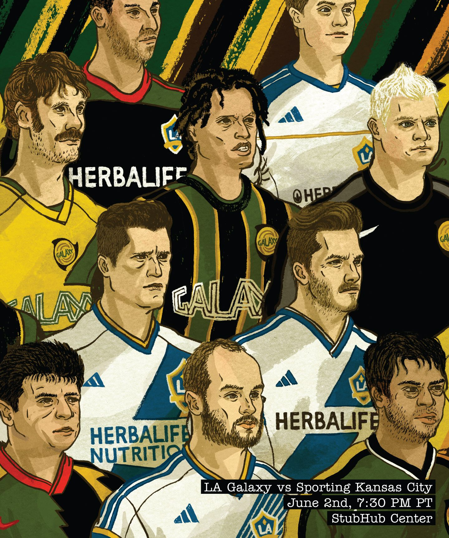 La Galaxy Unveil Match Poster For June 2 Galaxythrowback Match Against Sporting Kc La Galaxy Sporting Kc Sports