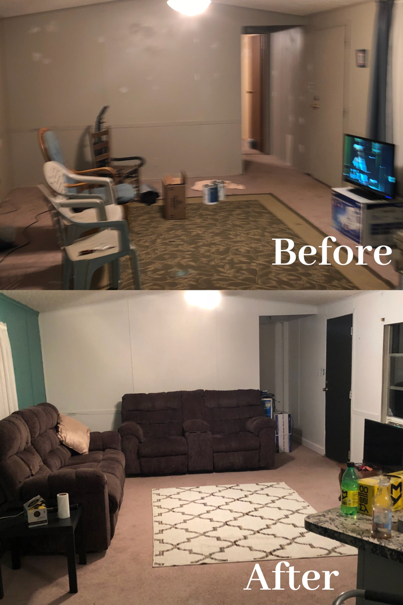 Before & after mobile home trailer remodel. Single wide ... on