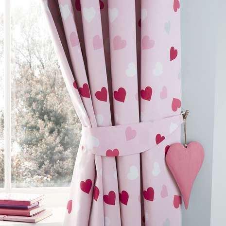 Decorated With A Love Heart Print On Vibrant Pink Base These Ready Made Eyelet Curtains Are Available In Choice Of Sizes And Feature Blackout Lining
