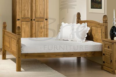 A Waxed Pine Bed Perfect For Creating Rustic Charm Bed Pine Beds Wooden Bed