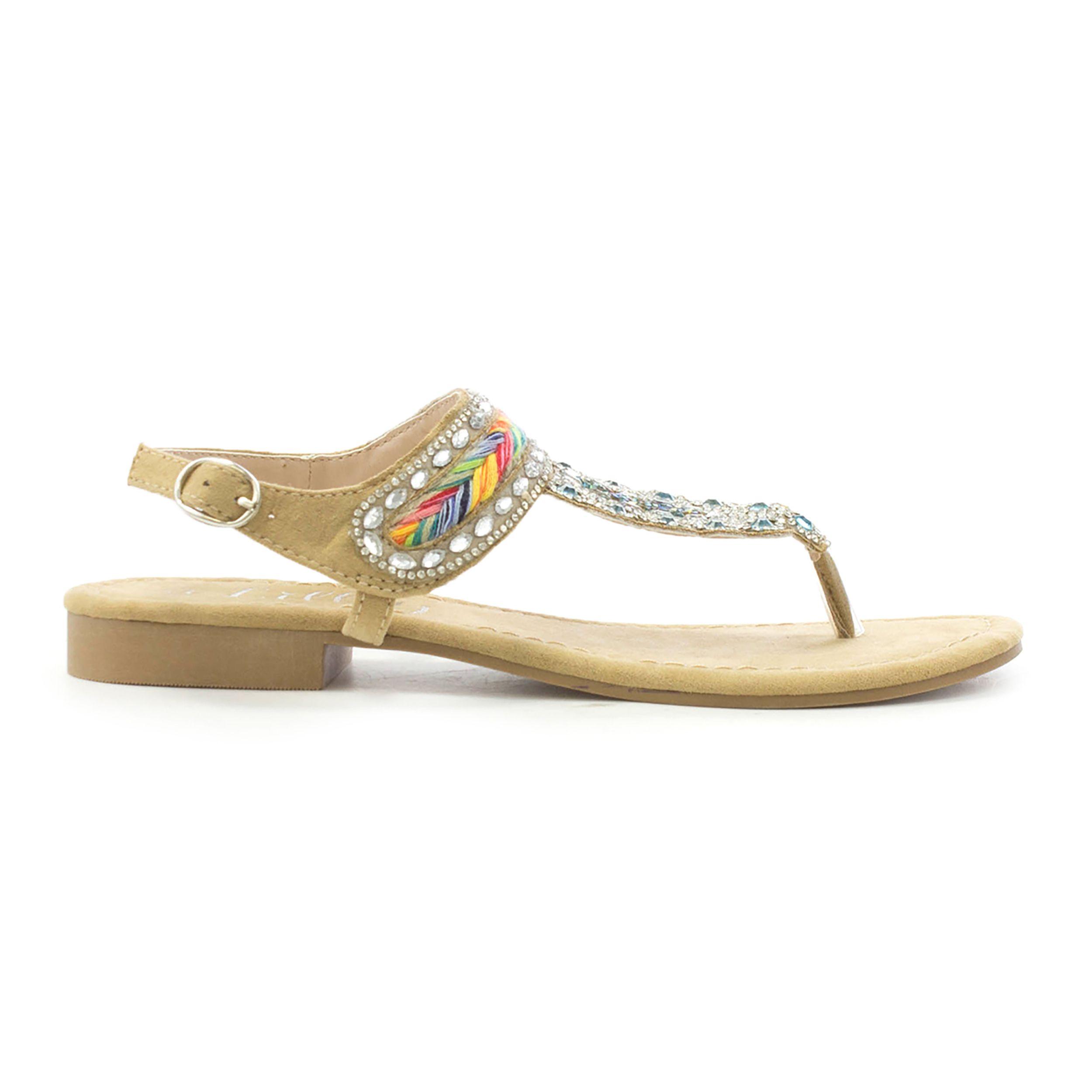 ea1f6cfe5b2 Lilley Womens Tan Diamante Flat Toe Post Sandal   SHOE ZONE   SS18 ...