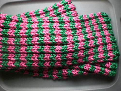This easy striped scarf is so easy to customize with your favorite colors. (Lion Brand Yarn)