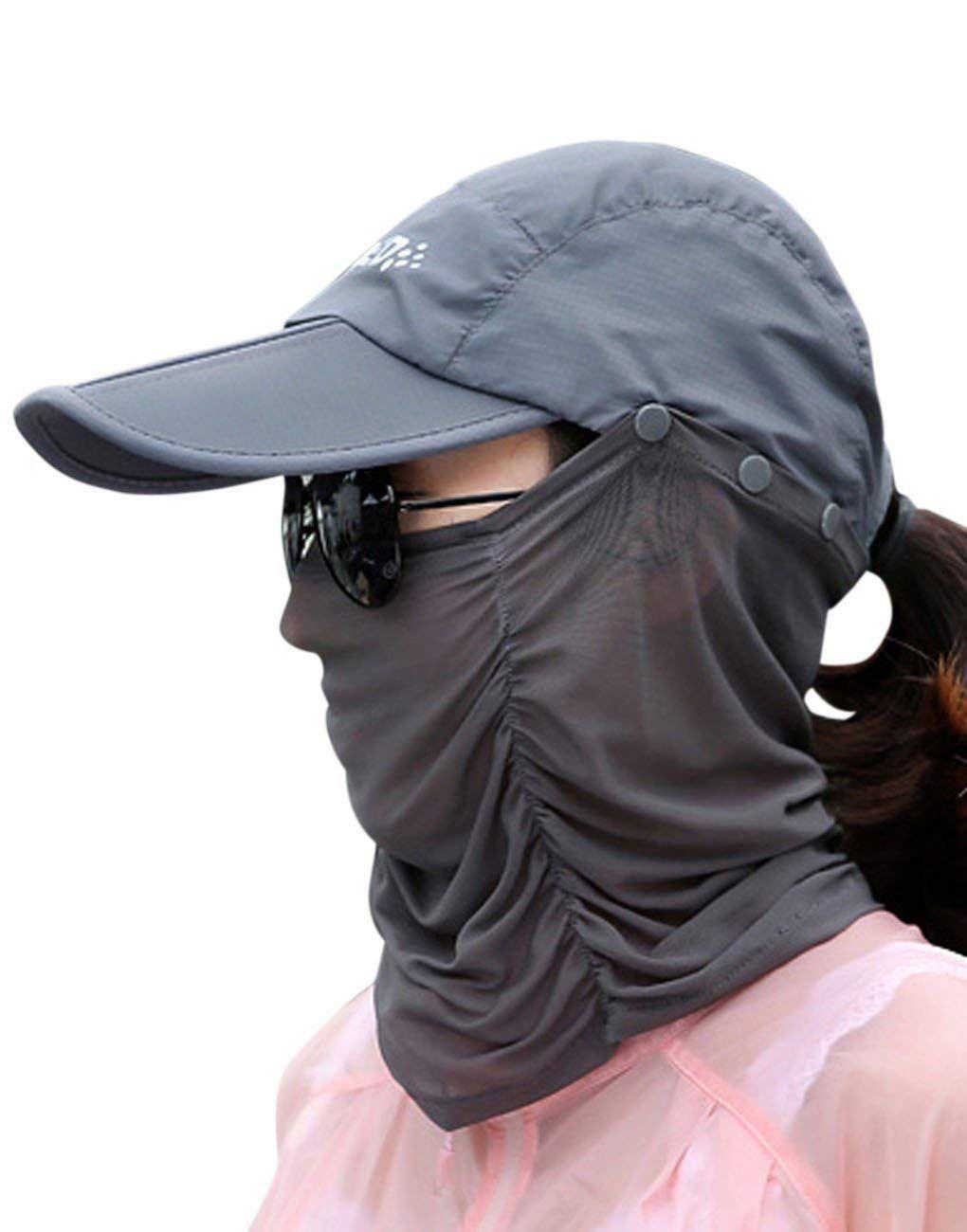 Sun Hats 2 In 1 Anti Uv Sun Protection Foldable Wide Brim Visor Removable Gauze Mask Outdoor Sun Hat Cap Lightwei Sun Hats Wide Brim Sun Hat Sun Hats For Women