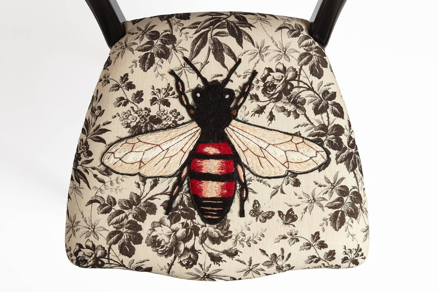 Unique Chair by Gucci. Hand Embroidered Bee on Black