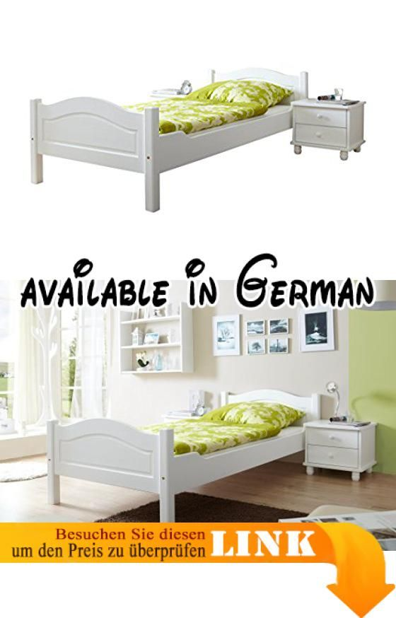 B00G497A6S  TICAA Einzel- und Doppelbett Rita Kiefer Weiß Aus