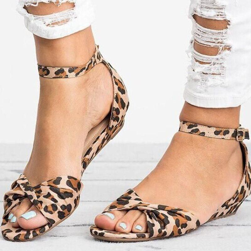 Line Style Buckle Heel Covering Block Heel Open Toe Leopard Bow Sandals Women Shoes Fashion Sandals Womens Summer Shoes