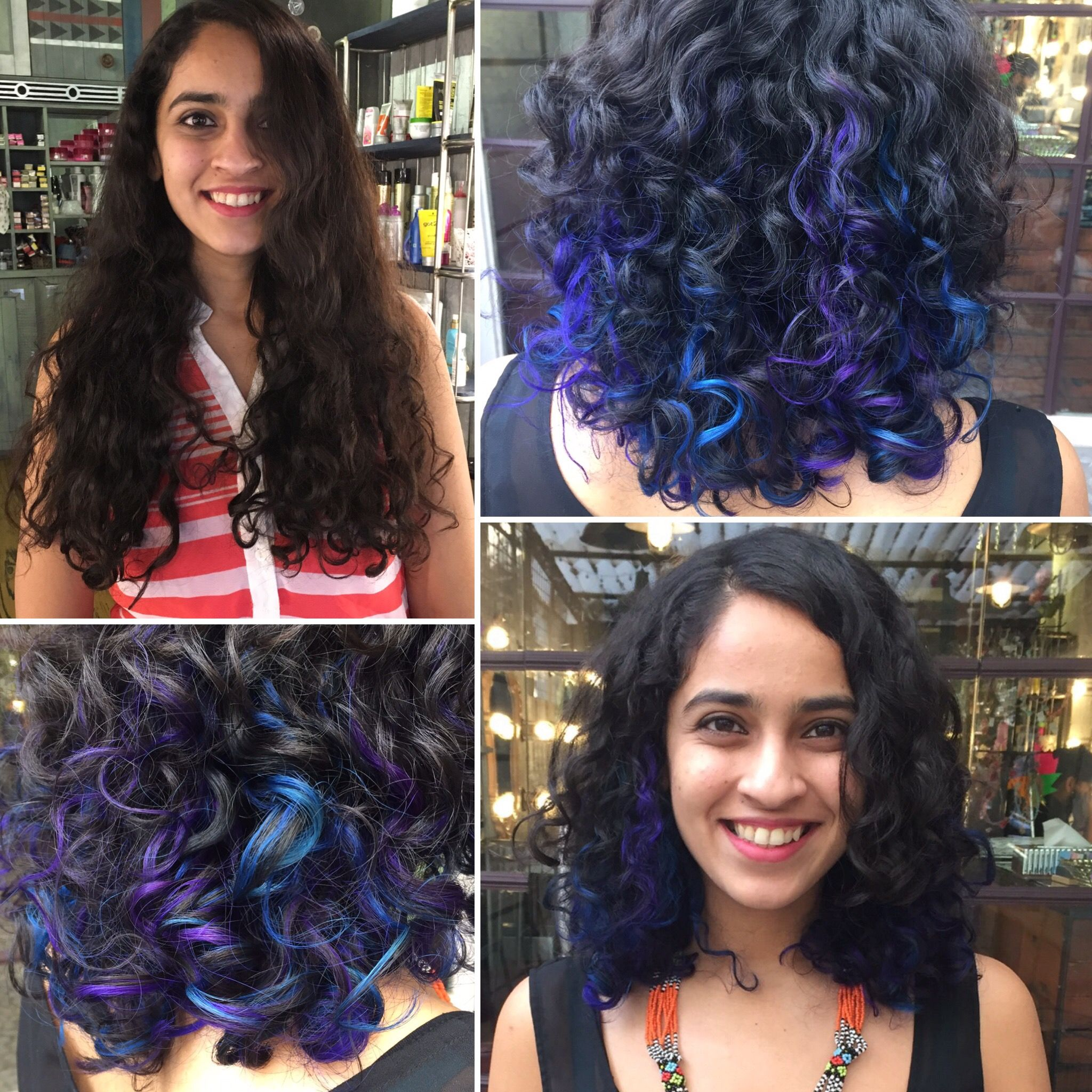 Before And After Blue And Purple Peak A Boo Highlights Blue Purple Hair Highlights Curlyhair Colourforc Hair Color For Black Hair Dyed Hair Hair Beauty