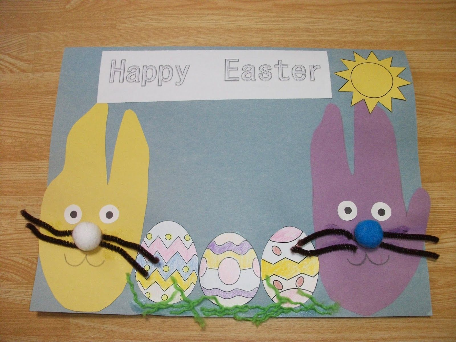 Happy Easter Hand Print Bunny Card