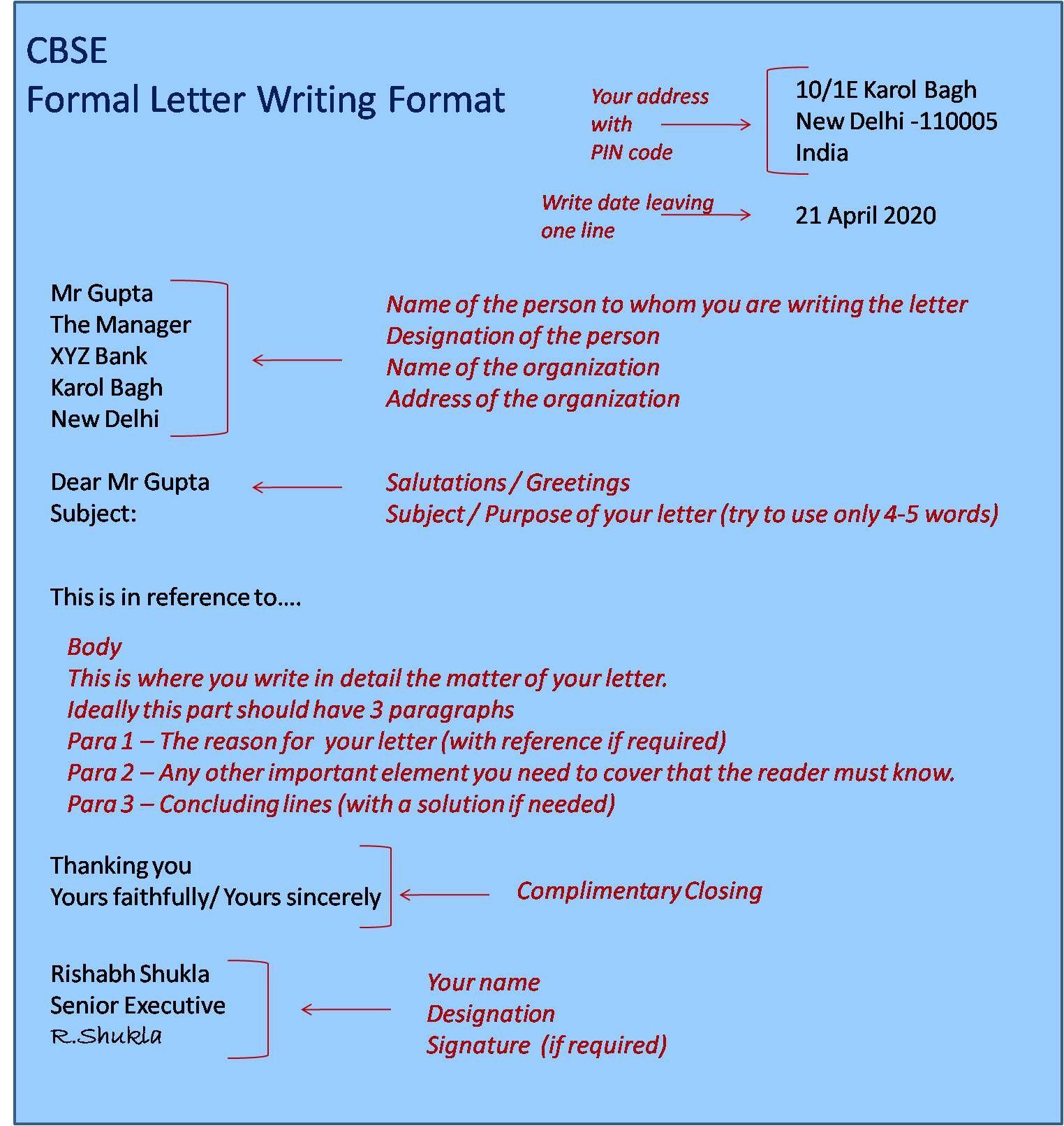 CBSE Formal Letter Format  Letter writing format, Formal letter