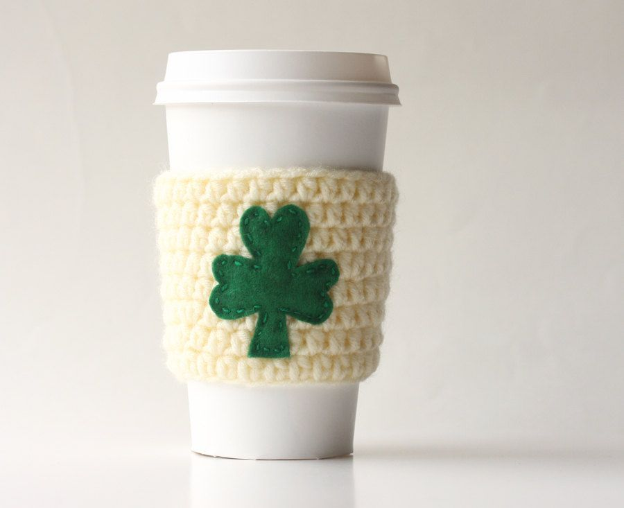 Cup cozy ,shamrock coffee cup cozy , to go coffee cup sleeve ...
