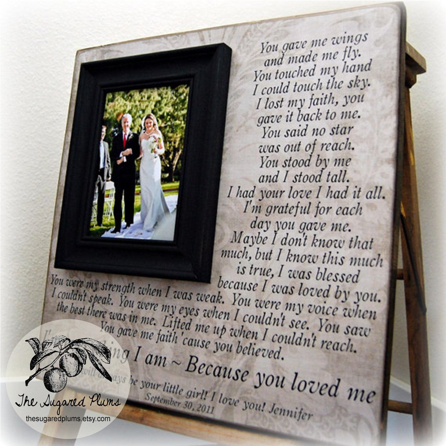 Wedding Gifts For Parents Parent Gift Personalized Picture Frame Custom 16x16 YOU GAVE Me WINGS Anniversary Father Of Mother Song