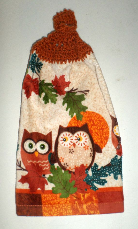 fall owl towel - crochet top towel - owls towel - plush