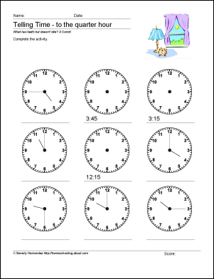 Ten Worksheets to Help Your Child Tell Time By Quarter