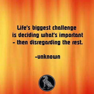 Lifeu0027s Biggest Challenge Is Deciding Whatu0027s Important   Then Disregarding  The Rest.