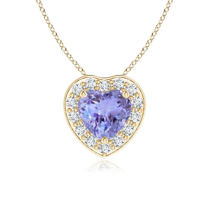 Angara Natural Tanzanite Antique Pendant in 14k Yellow Gold 0lY6Q