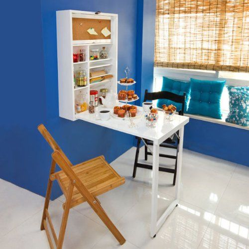 SoBuy Wall Mounted Drop Leaf Table, Folding Kitchen U0026 Dining Table Desk,  Integrated Shelf With Memoboard, White