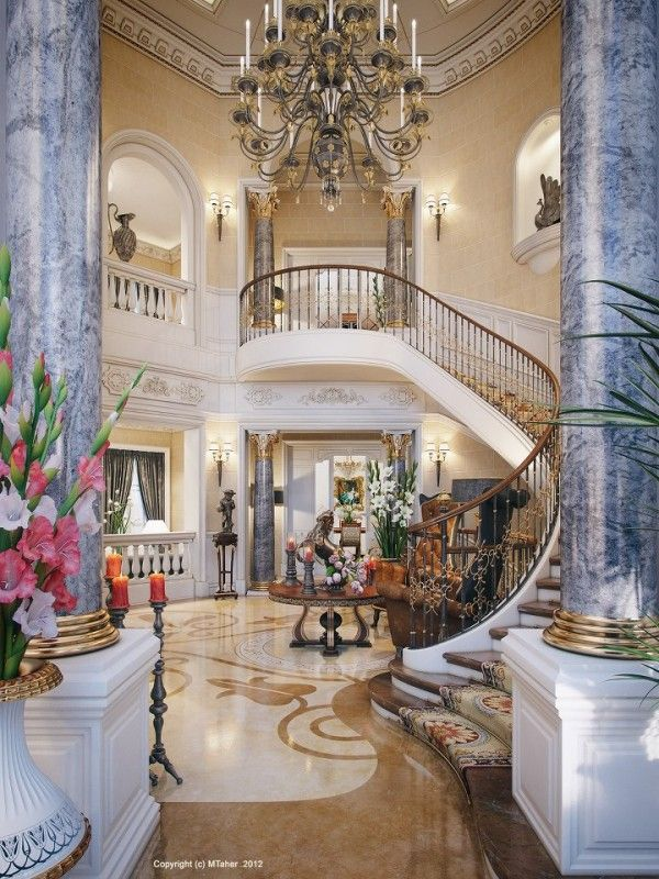 Luxury Villa In Qatar Visualized Luxury Staircase Luxury Homes House Design
